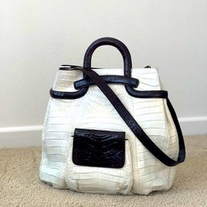 Nancy Gonzalez Crocodile Leather Tote Bag White